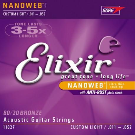 Elixir 80/20 custom Light corde per chitarra acustica 11-52