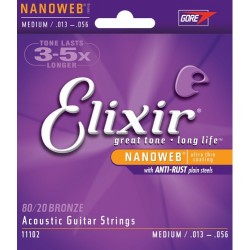 Elixir 80/20 MEDIUM corde per chitarra acustica 13-56