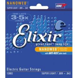 Elixir 9-42 NANOWEB Super Light chitarra elettrica