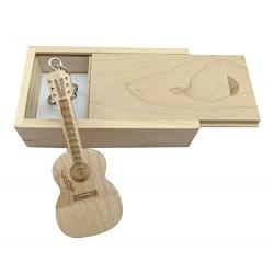 Chiavetta USB in legno di acero a forma di chitarra in scatola di legno Maple Wood 2.0/32GB
