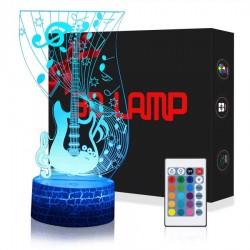 Lampada Chitarra 3D con Controllo Remoto, LED 5 colori Regolabile