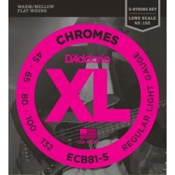 D'addario ECB81-5 45-132 Chromes Regular Light CORDE LISCE