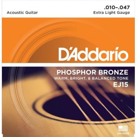 D'addario EJ15 Phosphor Bronze 10-47 Extra Light