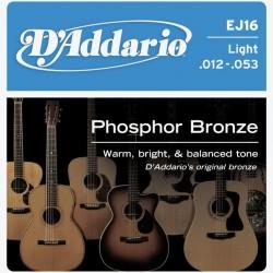 D'addario EJ16 Phosphor Bronze 12-53 Light