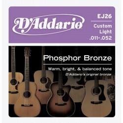 D'addario EJ26 Phosphor Bronze 11-52 Custom Light