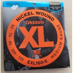 D'addario EXL 160-5 muta per basso 5 corde 50-135 nickel wound